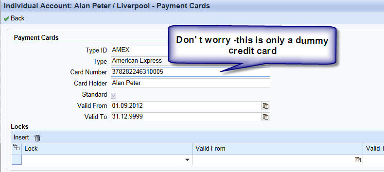 maintain credit card details in SAP CRM