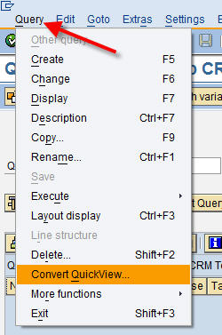 Convert QuickView in SQ01