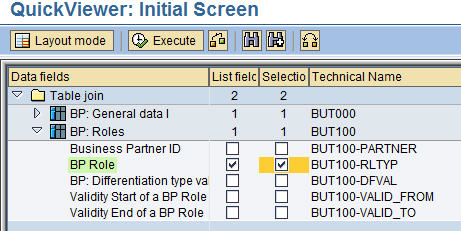 Selection of input & Output fields