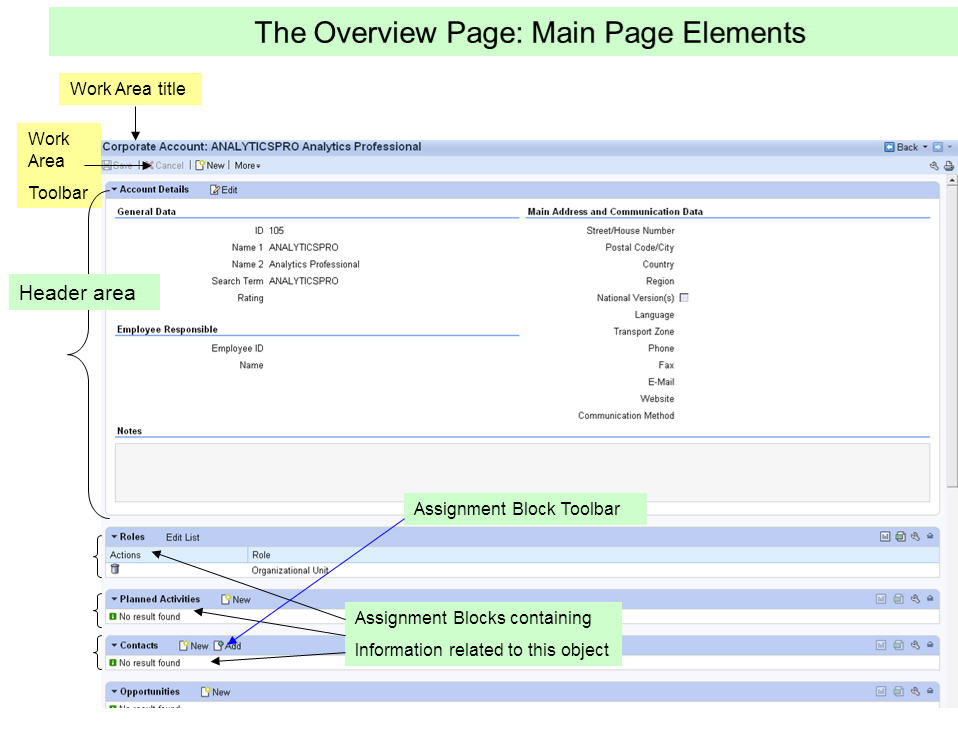 Main Page elements