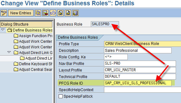 PFCG Role assigned to SAP CRM Business Role