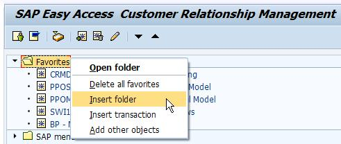 Insert Folder in SAP Menu