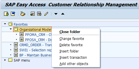 Sap Menu maintenance options